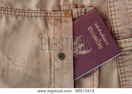 Thailand passport in the pocket