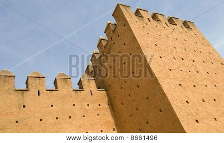 Red Fortified Walls Of Rabat