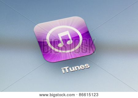 Close-up view of the iTunes icon on an iPad