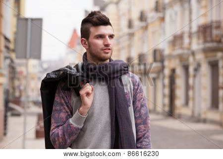 Walking Guy On The Street