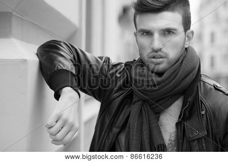 Black And White Portrait Of Fashionable Man On The Street