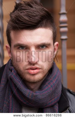 Close Up Of Stylish Guy Face Outdoors