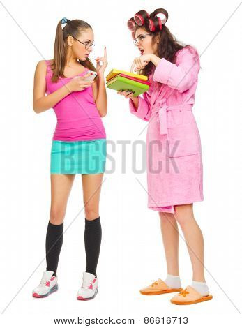 Angry mother with books screams to her daughter isolated