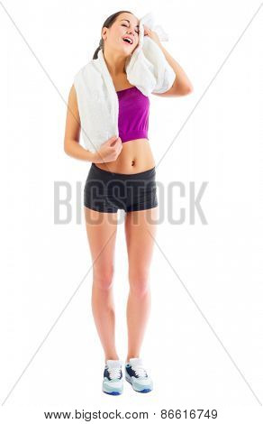 Sporty girl with towel isolated