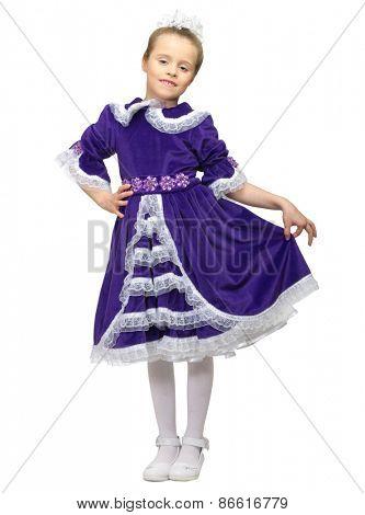 Little girl in blue dress isolated