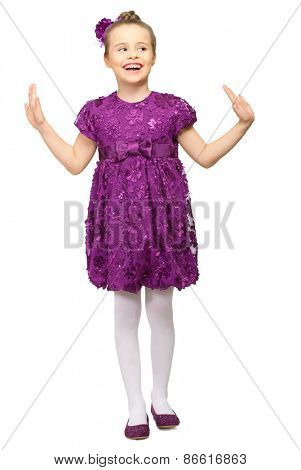 Little girl in purple dress isolated