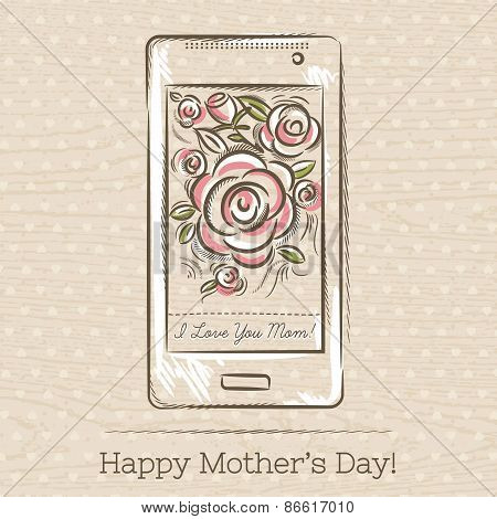 Mothers Day Card With Smart Phone And Roses,  Vector
