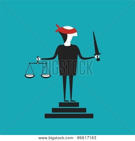 Justice Vector Concept In Flat Cartoon Style