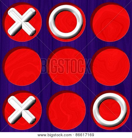 Tic Tac Toe Wooden Purple Board With White Symbol