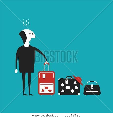 Man Going To Travel Vector Concept In Flat Cartoon Style