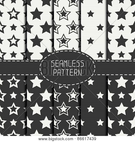 Set of geometric seamless pattern with stars. Collection of wrapping paper. Paper for scrapbook. Til