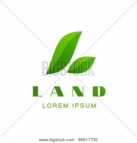 Letter L Eco Leaves Logo Icon Design Template Elements
