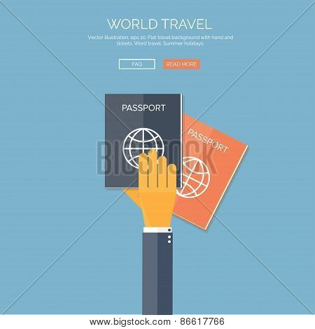 Vector illustration. Flat background with hand and passports. Travel. Summer holidays.