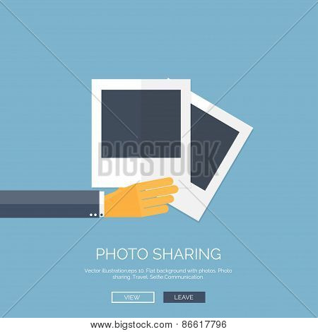 Vector illustration. Flat background with hand and photos. Travel. Selfie and images sharing.