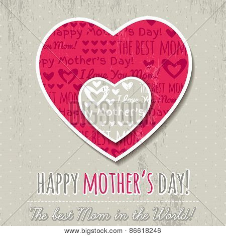 Grey Background With  Two Hearts And Wishes Text For Mothers Day,  Vector