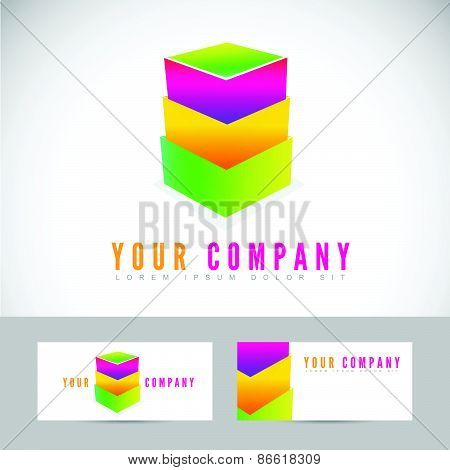 Colored Abstract Box Stack Logo