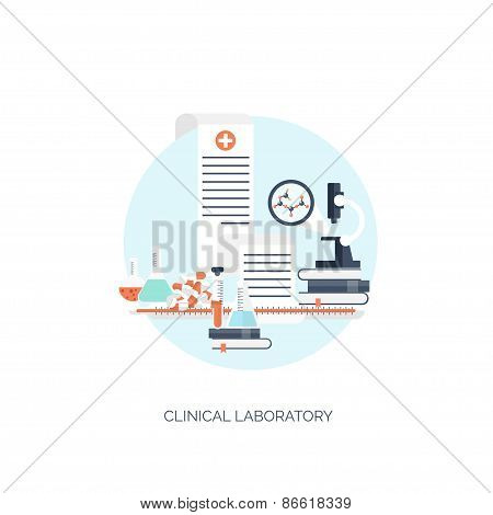 Vector illustration. Flat medical and chemical background. Research, experiment. Healthcare, first a