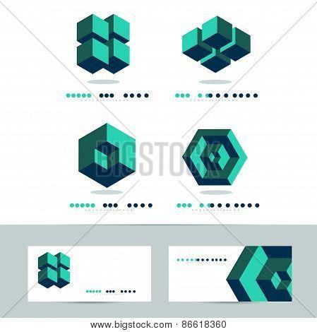 Corporate Abstract Geometric Logo Set