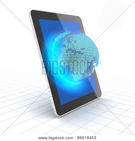 Globe with binary code emerging from a tablet