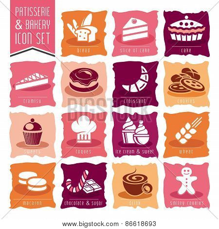 Bakery, patisserie icon set