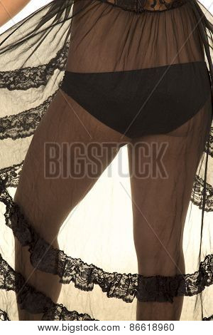 Woman Butt Close Back In Black Lingerie