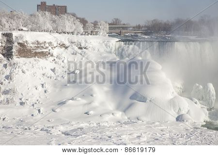 Niagara Falls The American Falls During Winter Frozen