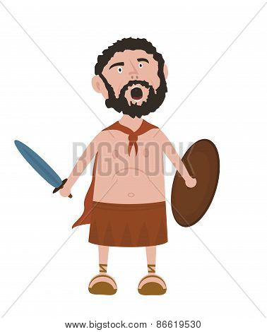 Spartan warrior cartoon character screaming holding sword and shield