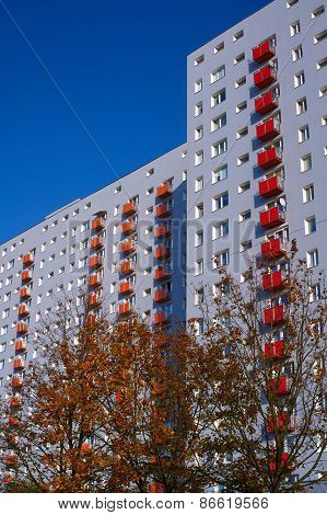 The facade of a residential high-rise building