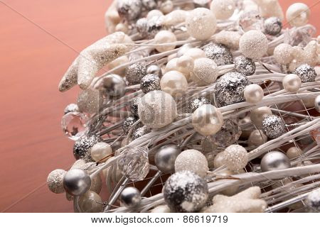 Macro view of white christmas decorations