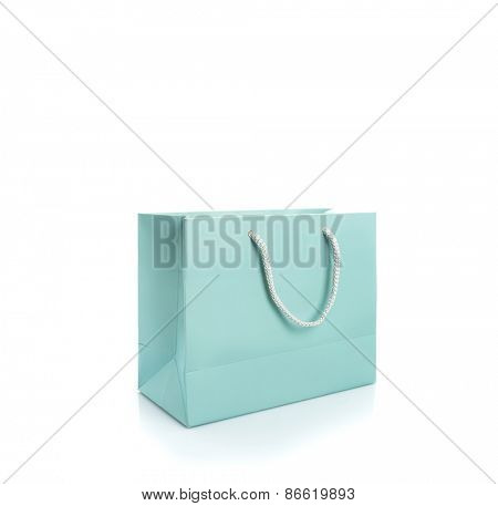 Closeup of shopping bag isolated on white