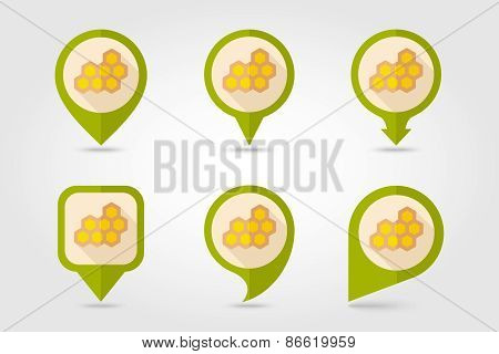 Honeycomb Bee Flat Mapping Pin Icon With Long Shadow
