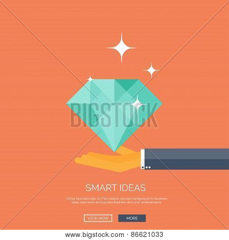 Vector illustration of diamond and hand. Flat business background. Smart solutions and ideas.  Brill