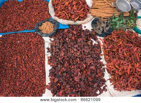 dried peppers and spices