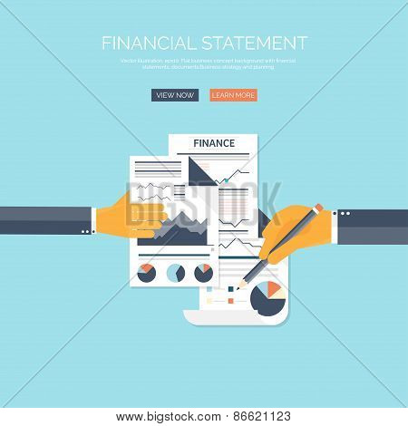 Vector illustration of financial concept background. Business solutions and money saving. Company st
