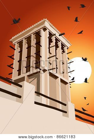 Historical Wind Tower And Birds Vector Illustration Dubai, United Arab Emirates