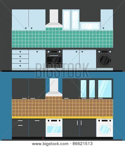 Different kitchen composition. Design elements