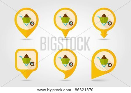 Wheelbarrow Carts Flat Mapping Pin Icon With Long Shadow