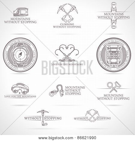 Vector set of mountaineering and tourism emblems