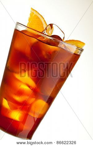 Cocktail with Energy Drink, Cola and Slice of Orange