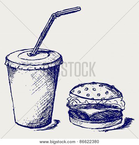Big hamburger and soda