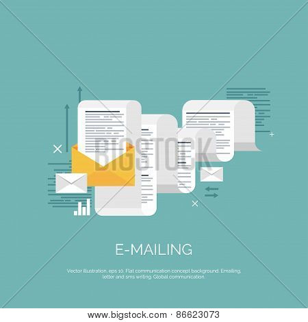 Vector illustration. Flat emailing background. Email. Global communication. Social network.