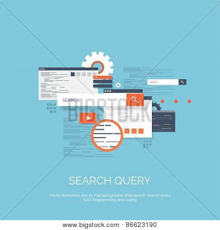 Vector illustration. Web search. Flat computing background. Programming and coding. Web development