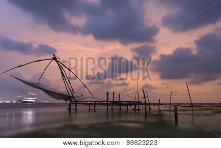 Chinese Fishing Nets At Kochi, Kerala, India