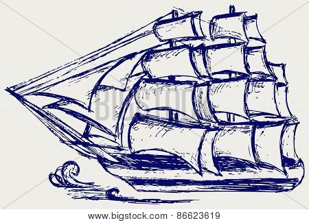 Sailing ship sails on the sea