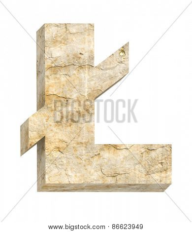 Pound sign from sandstone alphabet set isolated over white. Computer generated 3D photo rendering.