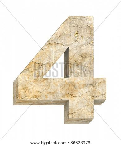 Number from sandstone alphabet set isolated over white. Computer generated 3D photo rendering.