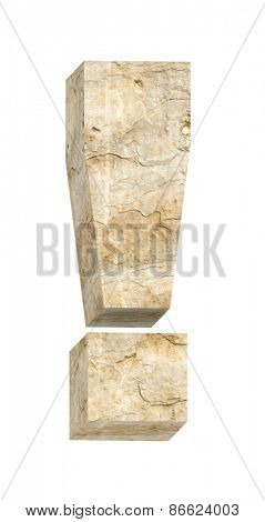 Exclamation mark from sandstone alphabet set isolated over white. Computer generated 3D photo rendering.