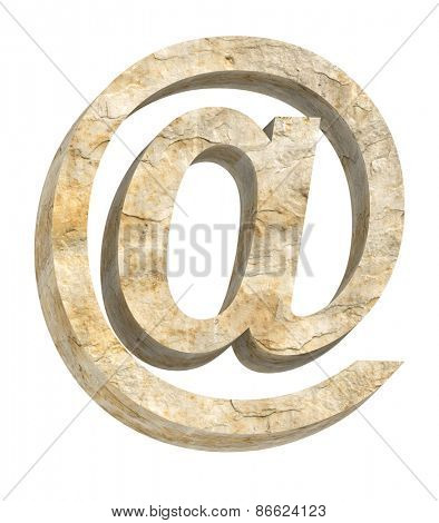 E-mail sign from sandstone alphabet set isolated over white. Computer generated 3D photo rendering.