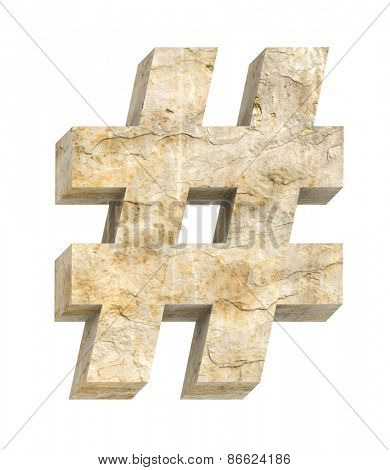 Sign from sandstone alphabet set isolated over white. Computer generated 3D photo rendering.