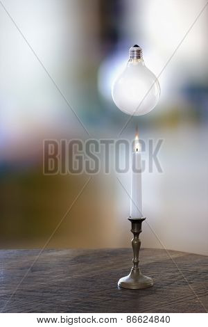 White Candle And A Bulb